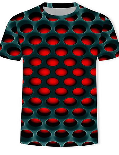 levne Pánské topy-Pánské - Geometrický / 3D / Grafika Tričko, Tisk Rubínově červená