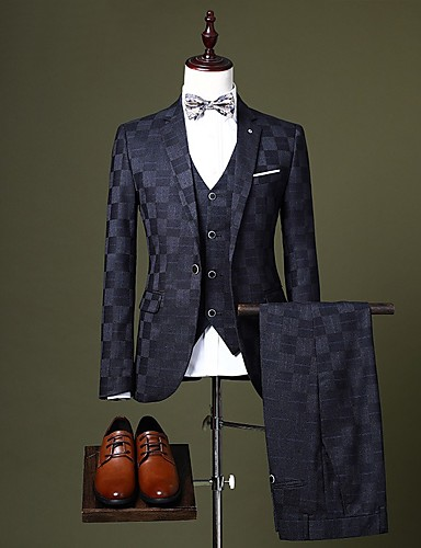 billige Brudgom og forlovere-Sort / Bordeaux / Marineblå Ternet Skræddersyet Polyester Jakkesæt - Hakrevers Enkeltbrystet med én knap / Suits