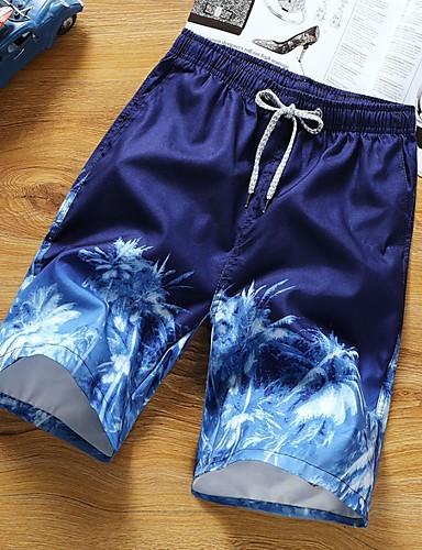 cheap 2020 Trends-Men's Basic Shorts Pants - Plants White Blue Red L / XL / XXL