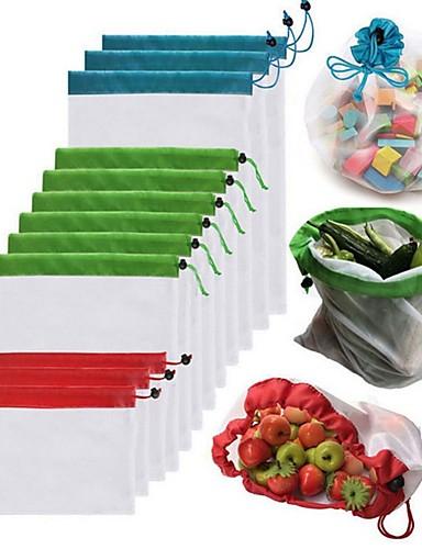 preiswerte HomeSweetHome-1 stücke wiederverwendbare mesh produzieren taschen waschbar taschen für einkaufs lagerung obst gemüse spielzeug kleinigkeiten veranstalter aufbewahrungstasche