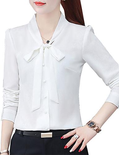 billige Dametopper-Skjorte Dame - Ensfarget, Sløyfe Bohem Hvit