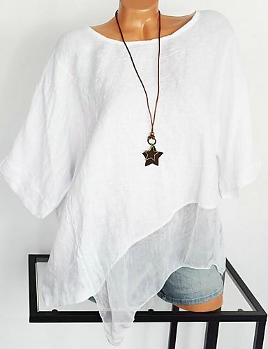 billige Skjorter til damer-Bomull Oversized Store størrelser Skjorte Dame - Ensfarget, Blonde / Netting / Lapper Gatemote / overdrevet Hvit XXXL