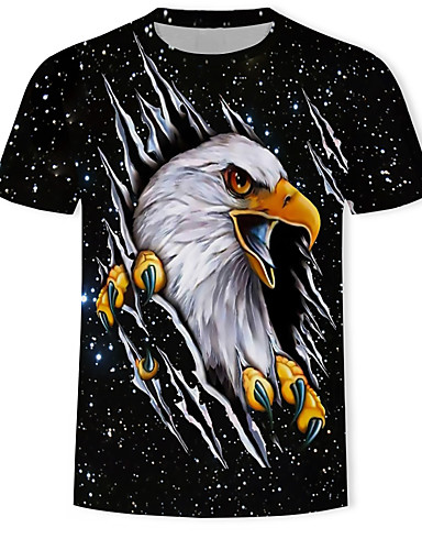 voordelige Herenbovenkleding-Heren Print T-shirt Heelal / 3D / dier Zwart