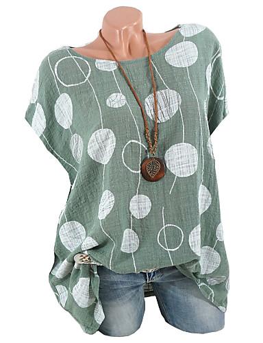billige T-skjorter til damer-Store størrelser T-skjorte Dame - Ensfarget / Polkadotter / Geometrisk Grunnleggende Rosa