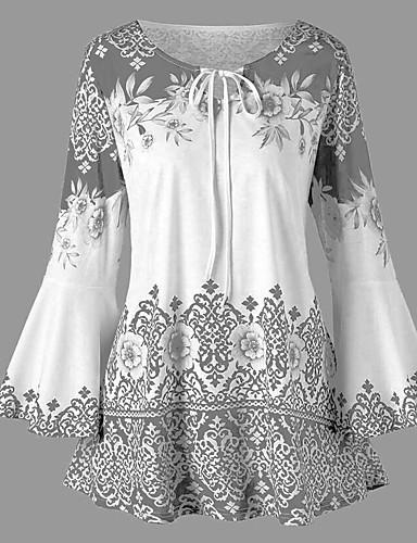 billige T-skjorter til damer-T-skjorte Dame - Geometrisk, Sløyfe / Flettet Svart