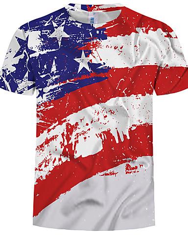 preiswerte Beach Lover-Herrn Einfarbig EU- / US-Größe T-shirt, Rundhalsausschnitt Schlank Druck Regenbogen / Sommer