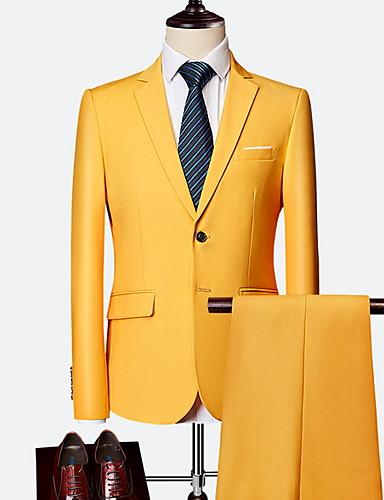 olcso Öltöny-Férfi ruhák, Egyszínű Hasított rever Poliészter Bor / Világoskék / Tengerészkék / Vékony