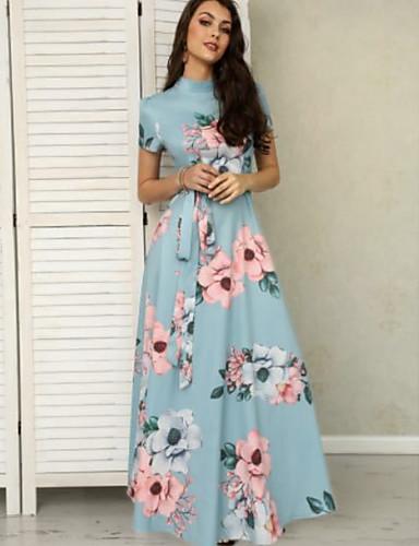 preiswerte Damenbekleidung-Damen Swing Kleid Blumen Maxi