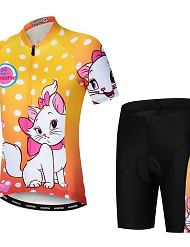 cheap Cycling-21Grams Boys' Girls' Short Sleeve Cycling Jersey with Shorts - Kid's Summer Black / Yellow Black+White Black / Green Cartoon Cat Bike Clothing Suit Quick Dry Moisture Wicking Breathable Back Pocket