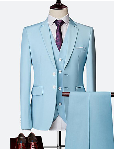 cheap Tuxedos & Suits-Sky Blue / Ruby / Royal Blue Solid Colored Slim Fit Nylon / Chinlon Suit - Notch Single Breasted Two-buttons
