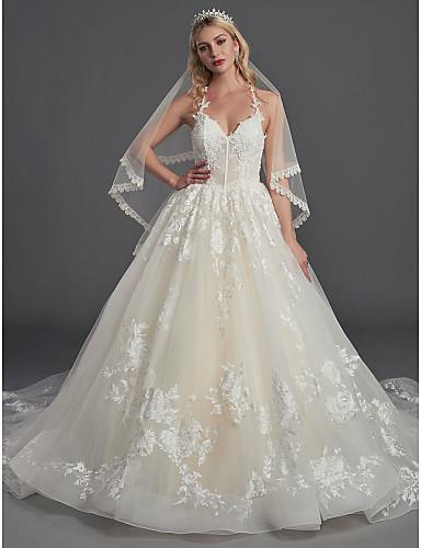 782ef759c425 Balklänning Halterneck Kapellsläp Spets / Tyll Bröllopsklänningar  tillverkade med Bård / Spets av LAN TING BRIDE® 7012542 2019 – $269.99