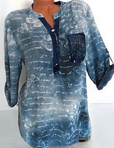 billige Skjorter til damer-Store størrelser Skjorte Dame - Geometrisk, Trykt mønster Grunnleggende Rød