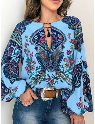 billige Dametopper-Skjorte Dame - Geometrisk, Trykt mønster Grunnleggende Hvit