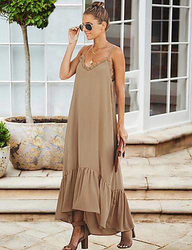 levne Maxi šaty-Dámské Elegantní Shift Šaty - Jednobarevné, Volány Maxi