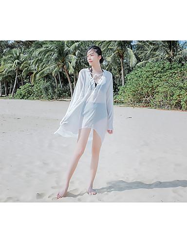 preiswerte Cover ups-Normal 55% Baumwolle / 45% Rayon Vertuschungen Sexy Solide Bikini Einfarbig