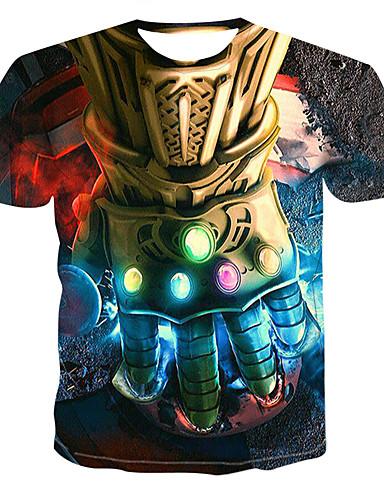 voordelige Herenmode-Heren Print T-shirt 3D Ronde hals Regenboog