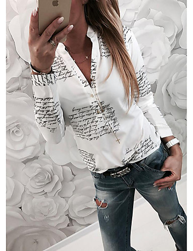 cheap Women's Blouses-2019 Hot Sale Blouses Women's Basic Slim Shirt - Letter Blusas Mujer De Moda Roupa Feminina Shirt Collar  White XL / Spring / Fall