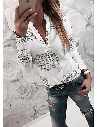 billige Dametopper-Tynn Skjortekrage Skjorte Dame - Bokstaver Grunnleggende Hvit / Vår / Høst