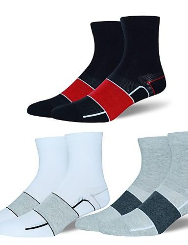 povoljno Biciklističke čarape-Kompresija čarape Sport čarape / atletske čarape Biciklističke čarape Muškarci Yoga Trčanje Pješačenje Bicikl / Biciklizam Anatomski dizajn Protective 1 par Pamuk Spandex Chinlon Crn Obala Sive boje