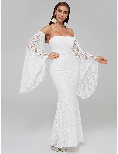 preiswerte Lange Kleider-A-Linie Trägerlos Boden-Länge Spitze Formeller Abend Kleid mit Spitzeneinsatz durch TS Couture®
