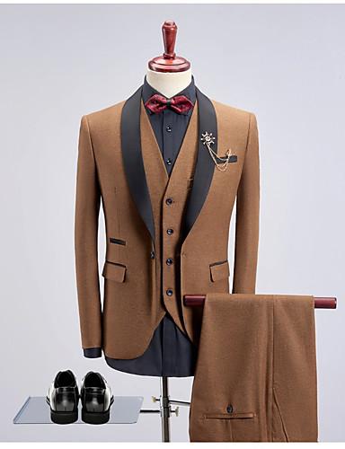 billige Brudgom og forlovere-Sort / Bordeaux / Kakifarvet Ensfarvet Slank Pasform Bomuld Jakkesæt - Sjalrevers Enkeltbrystet med én knap / Suits