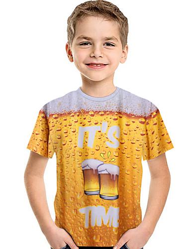preiswerte Beach Lover-Kinder Baby Jungen Aktiv Grundlegend Druck 3D Druck Kurzarm T-Shirt Gelb