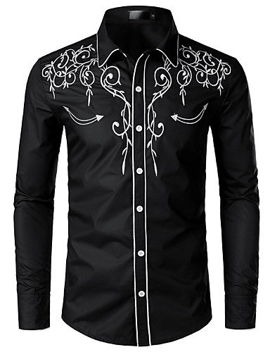 levne Pánské košile-Pánské - Jednobarevné EU / US velikost Košile, Výšivka Klasický límeček Černá