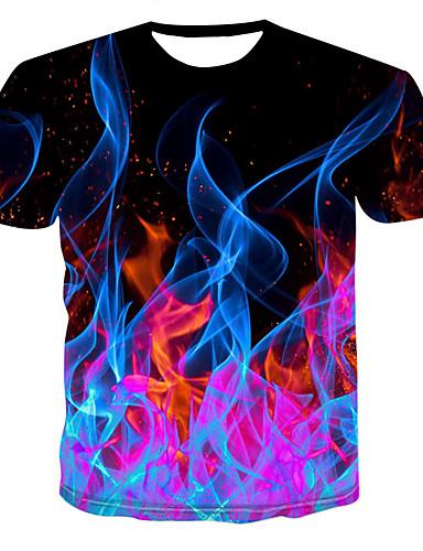 levne Pánské módní oblečení-Pánské - 3D Tričko, Tisk Kulatý Černá / Krátký rukáv