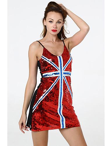 preiswerte Exotic Dancewear-Exotische Tanzkleidung Nachtclub Jumpsuits / Ausgehkleidung / Club Kostüm Damen Leistung Terylen Pailetten Ärmellos Kleid