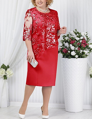 cheap Plus Size Dresses-Women's T Shirt Dress Tee Dress Knee Length Dress - Half Sleeve Solid Color Paisley Lace Formal Style Spring Summer Plus Size For Mother / Mom Cocktail Party Going out Blue Red Light Blue S M L XL