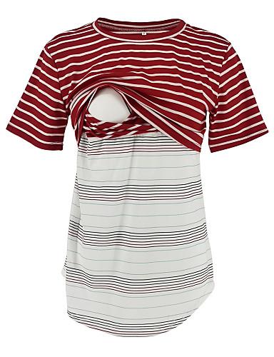 preiswerte Oberteile-Damen Gestreift Schwangerschaft T-shirt Patchwork / Druck Rote