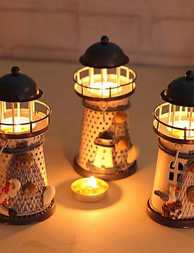 preiswerte Schlafzimmer-Miniatur Leuchtturm 14cm handbemalt Leuchtturm Eisen Modell Kerzenhalter