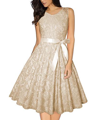 preiswerte Damenbekleidung-Damen Hülle Kleid Solide Knielang