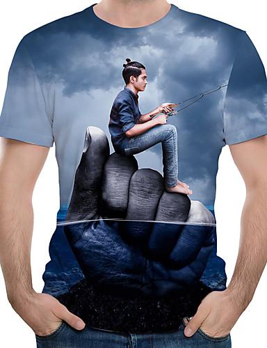 Rund hals EU / USA størrelse T-skjorte Herre - Fargeblokk / 3D / Tegneserie, Trykt mønster Navyblå / Kortermet