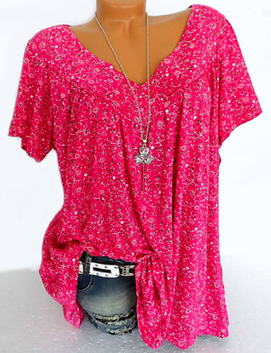 billige Skjorter til damer-V-hals Skjorte Dame - Blomstret / Geometrisk / Grafisk, Lapper / Trykt mønster Gul