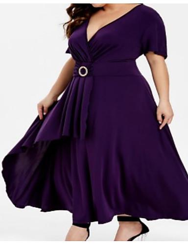 levne Šaty velkých velikostí-Dámské Swing Šaty Maxi Hluboké V
