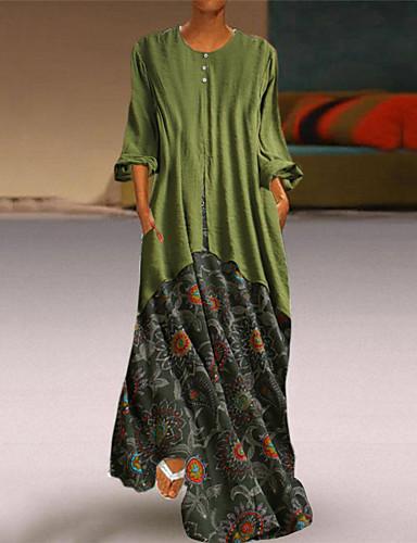 preiswerte Damenbekleidung-Damen Grundlegend Hülle Kleid Geometrisch Maxi