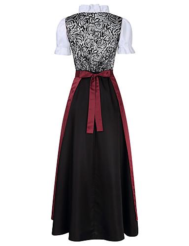levne Maxi šaty-Oktoberfest Dámské šaty Trachtenkleider Dámské Šaty Bavorský Kostým Hnědá Světlá růžová