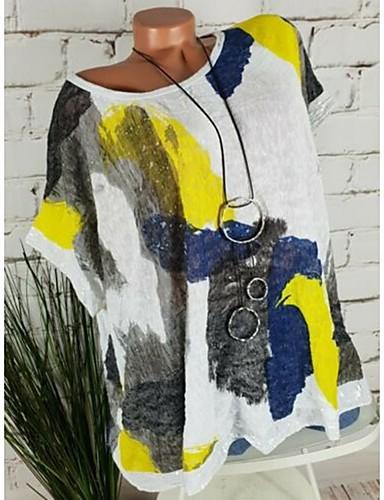 billige Skjorter til damer-Løstsittende Store størrelser Skjorte Dame - Grafisk / Tribal, Paljetter / Lapper / Trykt mønster Grunnleggende Hvit