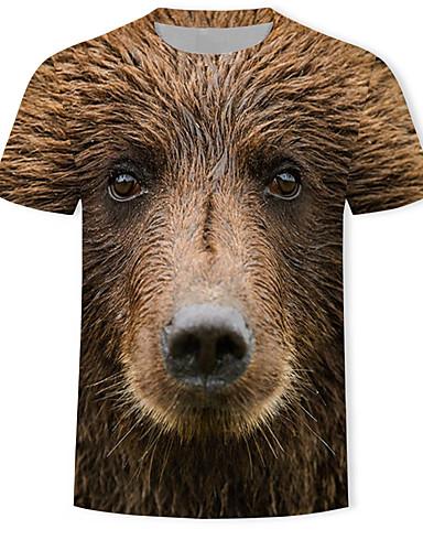 voordelige Herenbovenkleding-Heren Print T-shirt 3D / dier / Cartoon Bruin