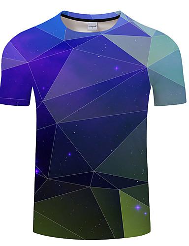 preiswerte Herrenmode-Herrn Geometrisch Übergrössen T-shirt, Rundhalsausschnitt Blau / Kurzarm