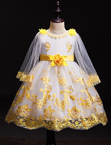 שמלה מעל הברך שרוול ארוך תחרה / חרוזים / רשת פרחוני פעיל / סגנון חמוד בנות ילדים