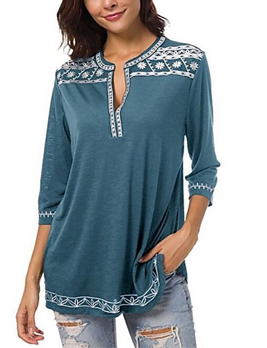 billige T-skjorter til damer-Bomull V-hals T-skjorte Dame - Geometrisk, Lapper / Trykt mønster Lilla