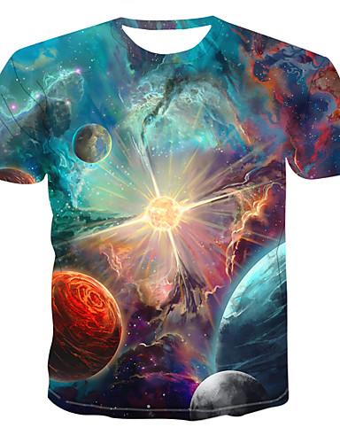 cheap Men's Tees & Tank Tops-Men's T-shirt Galaxy Graphic Print Short Sleeve Tops Round Neck Blue Red Green / Summer