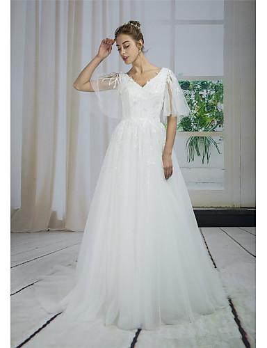 ca48443bc94 Γραμμή Α Λαιμόκοψη V Ουρά μέτριου μήκους Δαντέλα / Τούλι / Με πούλιες  Φορέματα γάμου φτιαγμένα στο μέτρο με Διακοσμητικά Επιράμματα / Δαντέλα με  ANGELAG ...