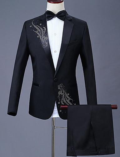 levne Vánoce-Pánské Větší velikosti Obleky, Geometrický Košilový límec Polyester Černá / Rubínově červená / Fialová / Štíhlý