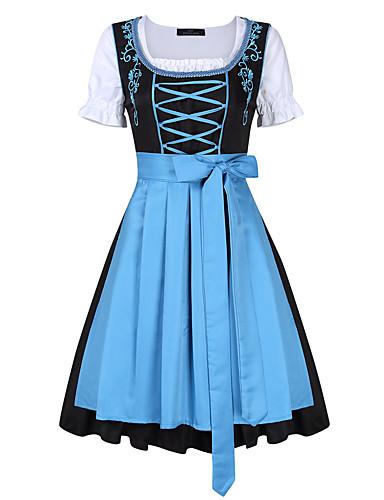 baratos Halloween & Fantasias de Carnaval-Oktoberfest Dirndl Trachtenkleider Mulheres Vestido Bávaro Ocasiões Especiais Azul Claro Roxo Verde