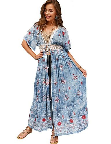 Жен. Богемный С летящей юбкой Платье - Геометрический принт, С разрезами Макси