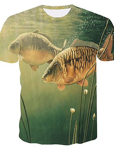 billige Store størrelser-Herre-Tynn Rund hals Store størrelser T-skjorte Herre - 3D / Dyr, Trykt mønster Grønn