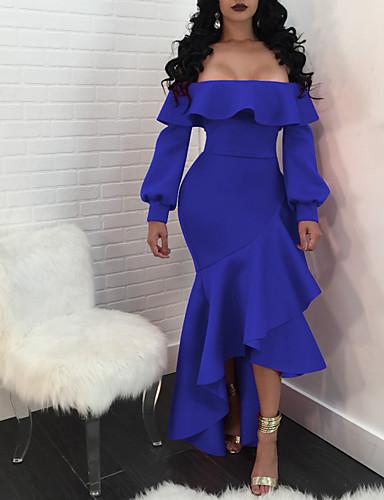 levne Maxi šaty-Dámské Základní Elegantní Swing Mořská panna Šaty - Jednobarevné, Rozparek Maxi